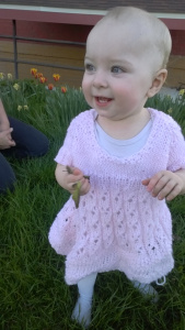 One of the few things I procrastinated on was getting photos of Kathleen in the Easter dress my mother knitted for her. Win!